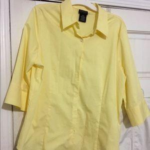 New cream yellow slightly fitted 3/4 sleeve shirt